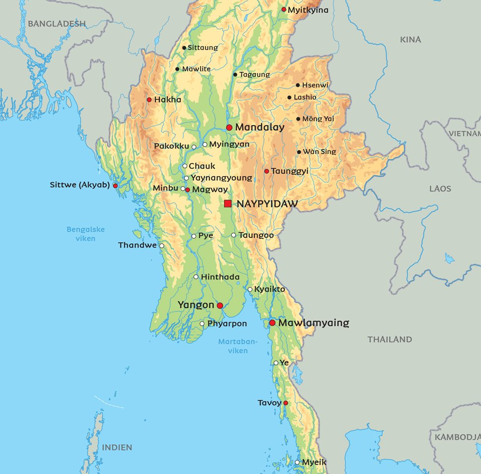 Burma Karta Se De Storsta Staderna Rangoon Naypyidaw Mandalay Pa