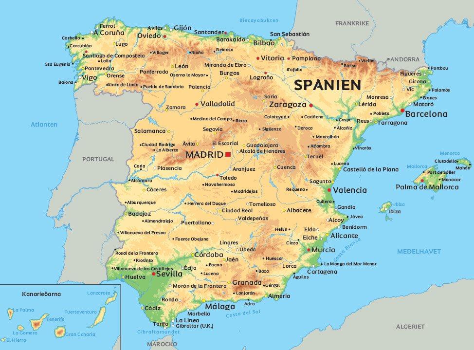 Karta Nordostra Spanien.Spanien Karta Se De Storsta Staderna I Spanien Bland Annat Madrid