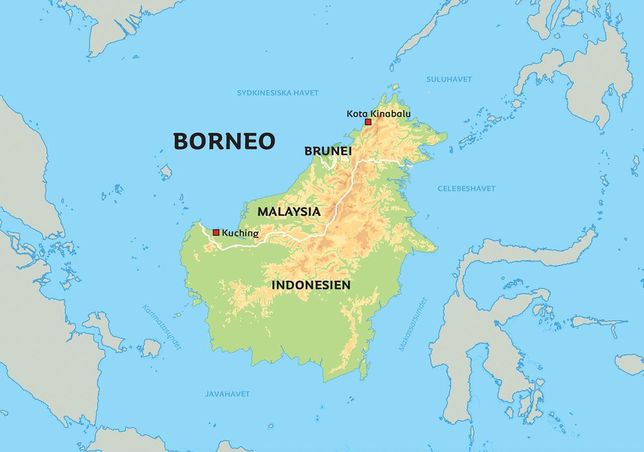 Karta Over Borneo Se Till Eksempel Kuching Och Kota Kinabalu
