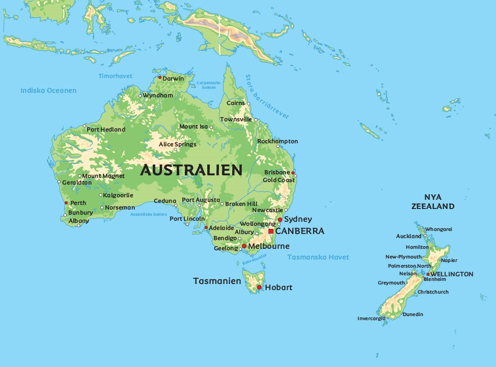 Karta Afrikas Ostkust.Karta Over Australien Se De Storsta Staderna I Australien Pa Karta