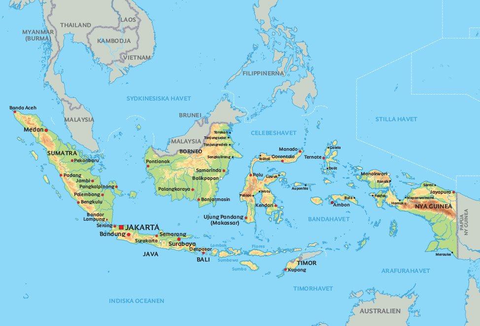Australien Karta Lander.Karta Over Indonesien Se Indonesiens Oar Och De Storsta Staderna Pa