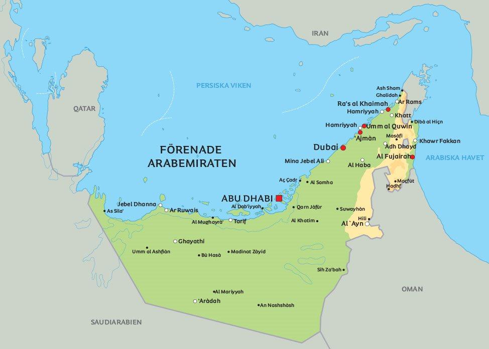 förenade arabemiraten karta Karta Förenade Arabemiraten: Se t.ex. Dubai og Abu Dhabi förenade arabemiraten karta