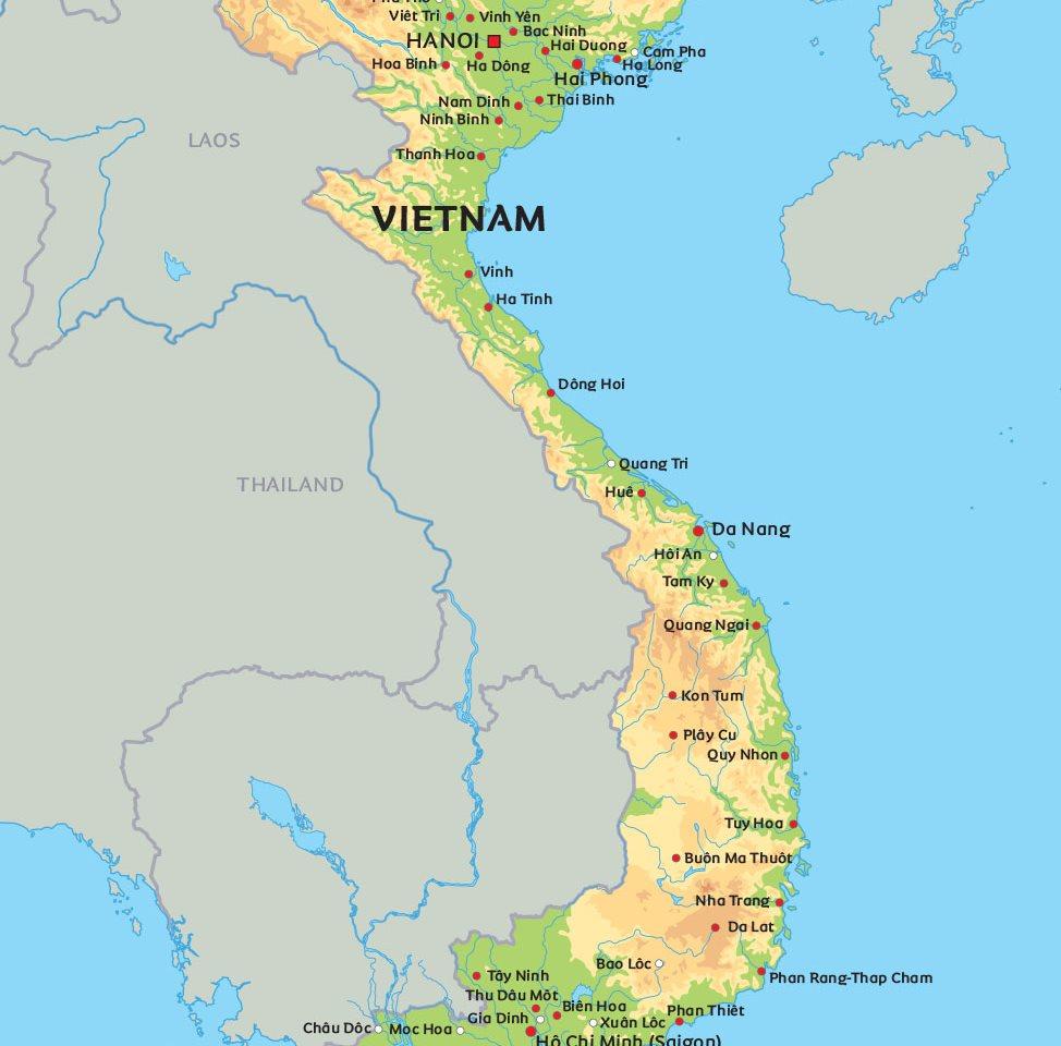Karta Indien Thailand.Vietnam Karta Se De Storsta Stader I Vietnam Pa Karta Hanoi