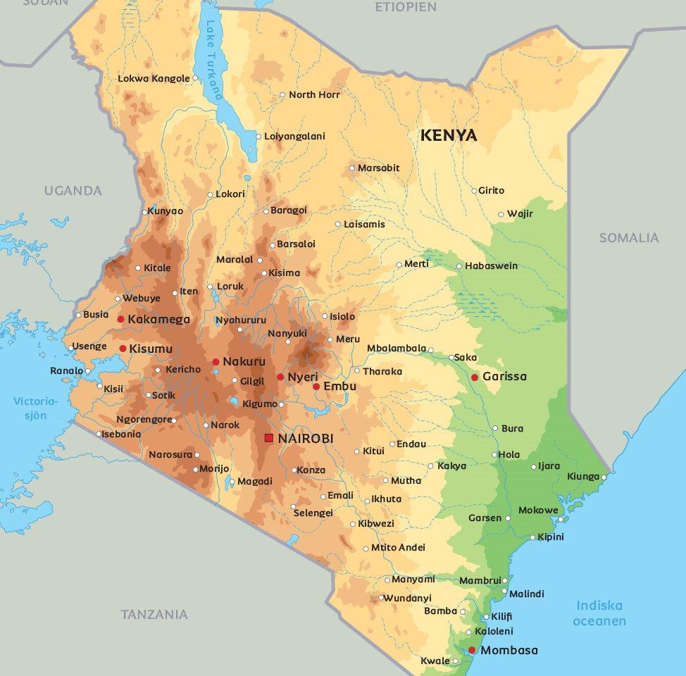 kenya karta Kenya karta: Se de största städerna och nationalparkerna i Kenya  kenya karta