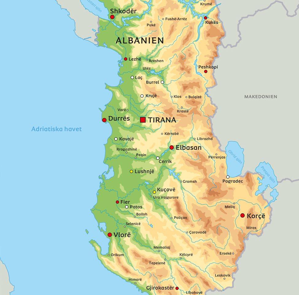 albanien karta Karta över Albanien: se till exempel placeringen av huvudstaden Tirana albanien karta