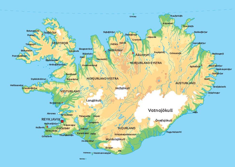 Karta Nordostra Spanien.Island Karta Se De Storsta Staderna I Island