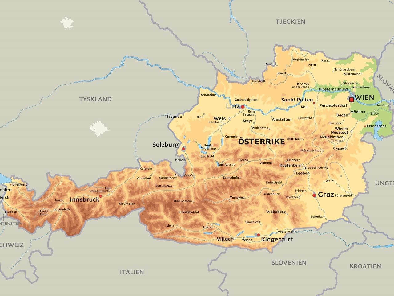österrike karta Karta Österrike: Se bland annat huvudstaden Wien österrike karta