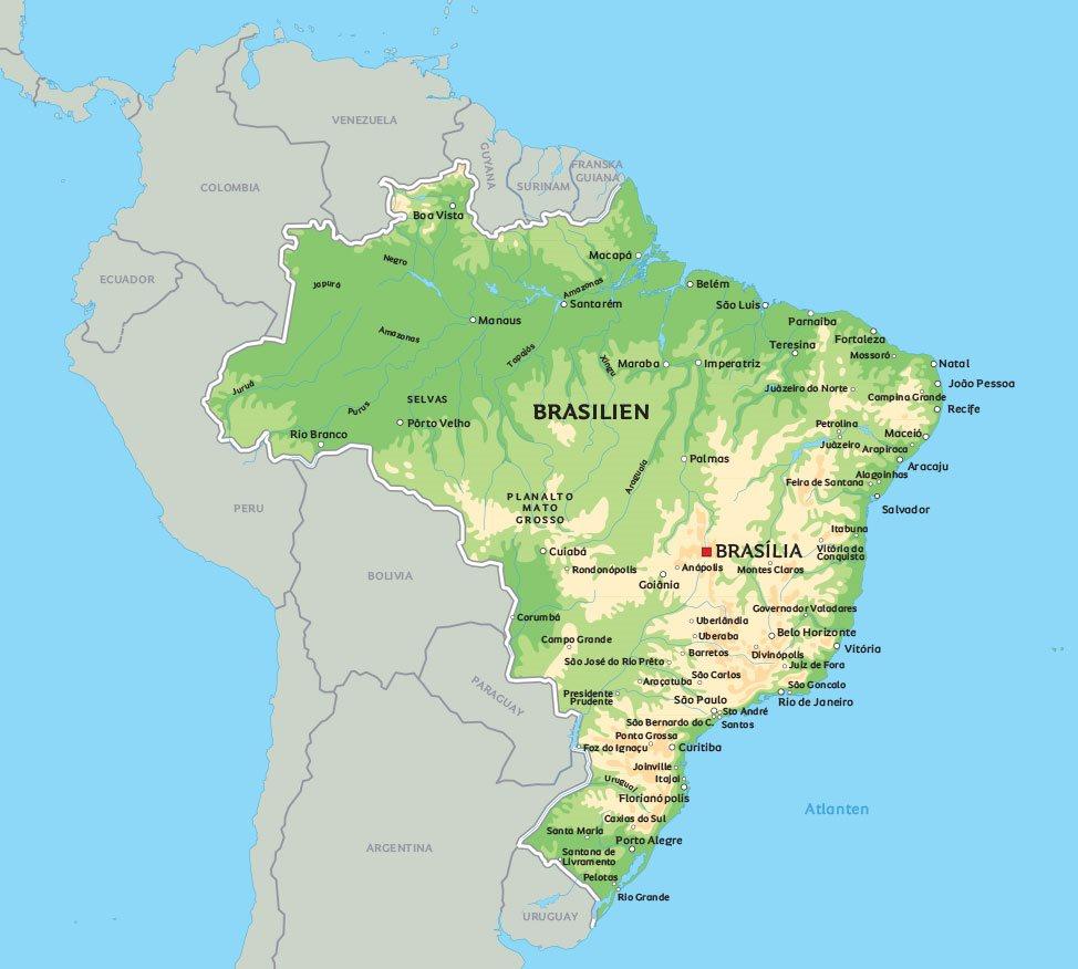 Karta över Brasilien: e de största städerna i Brasilien – Rio de Janeiro, Sao Paulo, Brasilia