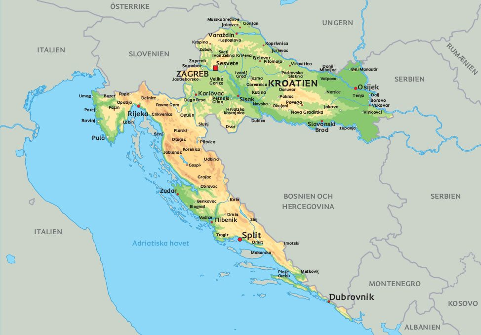 Karta Europa Turkiet.Karta Kroatien Se De Storsta Staderna I Kroatien T Ex Split Och