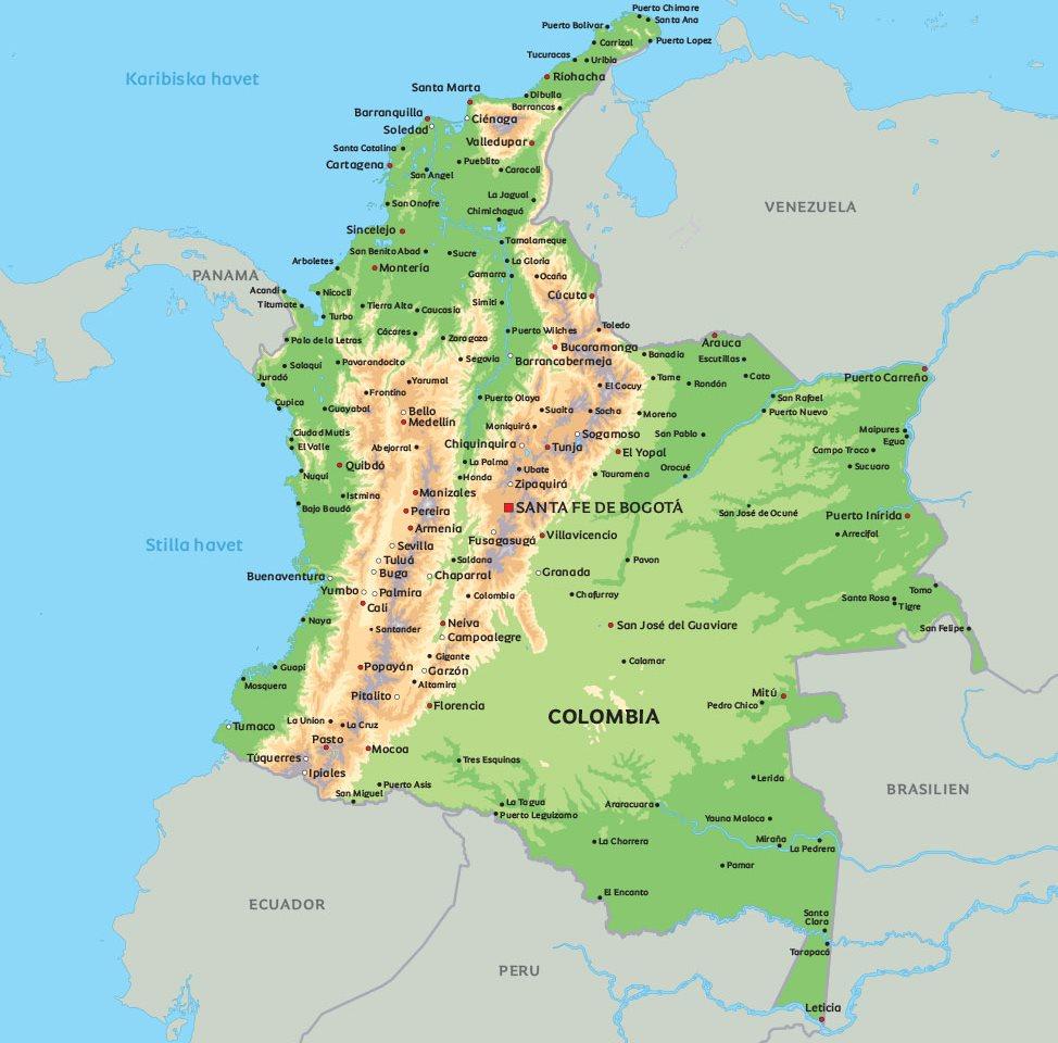 colombia karta Karta Colombia: Se exempelvis huvudstaden Bogotá colombia karta