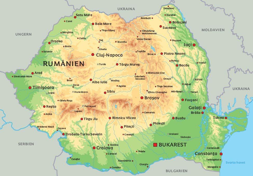rumänien karta Karta över Rumänien: se bland annat placeringen av Bukarest og Sibiu rumänien karta