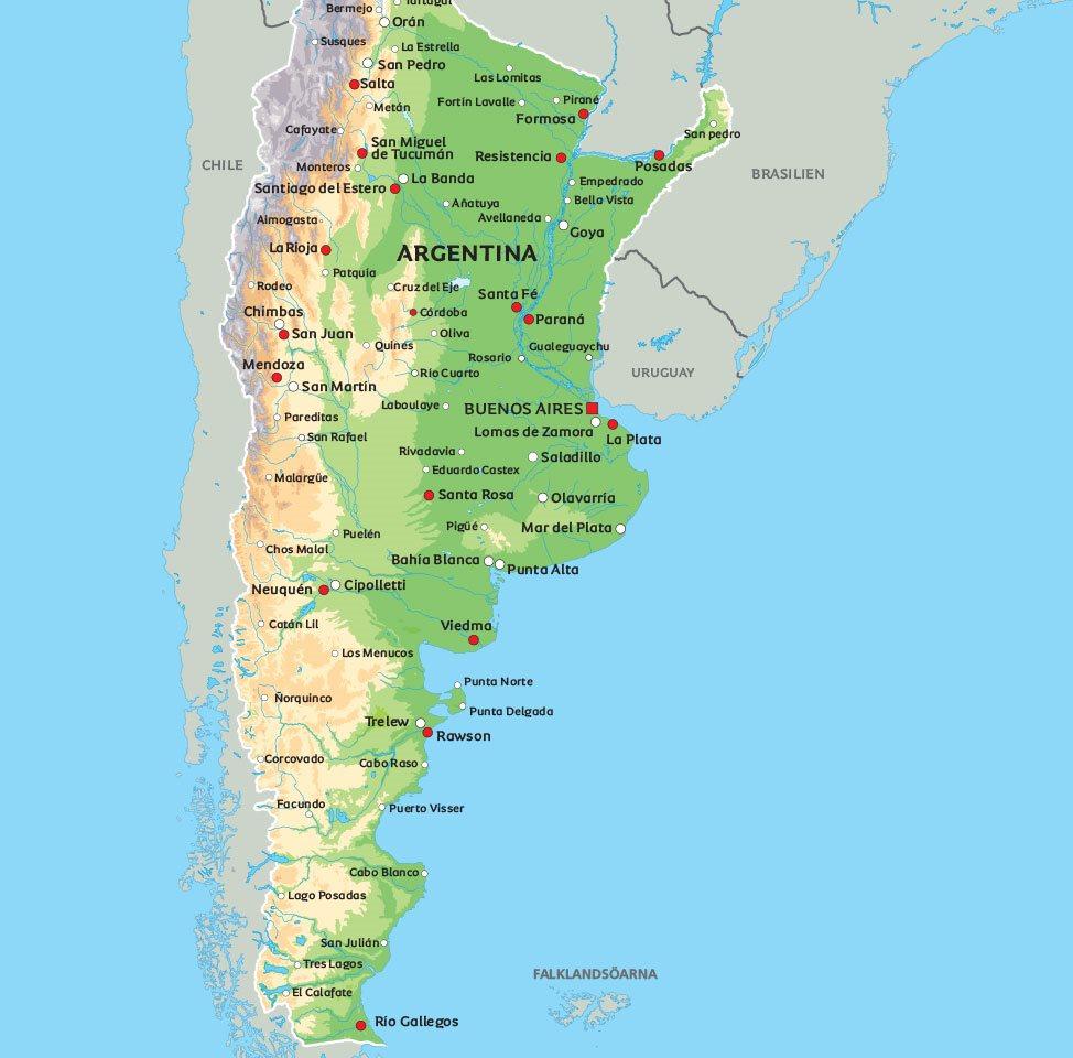 argentina karta Argentina karta: Se de största städerna i Argentina, bland annat  argentina karta
