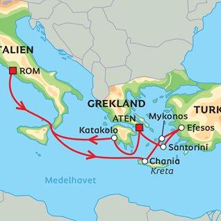 Karta Aten Grekland.Kryssning I Antikens Medelhav Med Mykonos Och Santorini