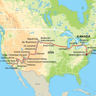 Karta Usa Sjoar.Usa Fran Kust Till Kust