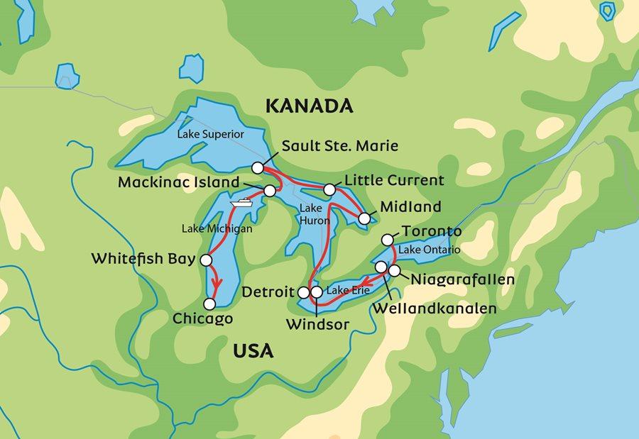 Karta Usa Sjoar.The Great Lakes En Kryssning Pa Nordamerikas Maktigaste Sjoar