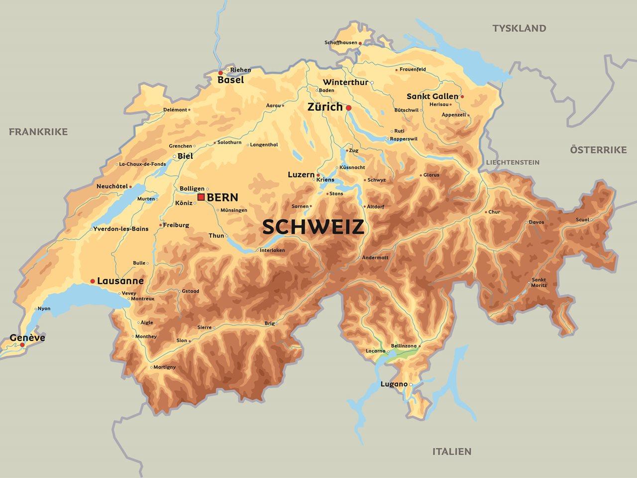 schweiz karta Karta Schweiz: se bl.a. Bern, Basel och Zürich schweiz karta