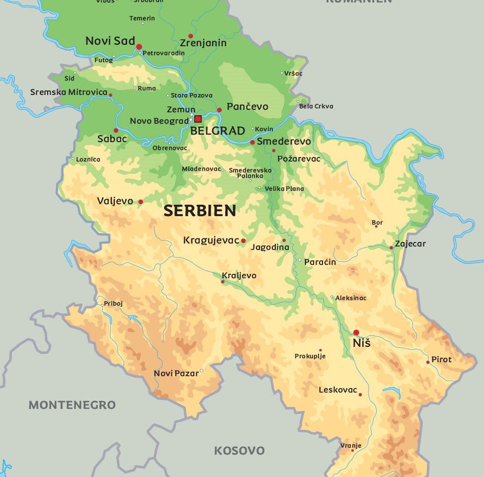 serbien karta Karta Serbien: Se de största städerna i Serbien serbien karta