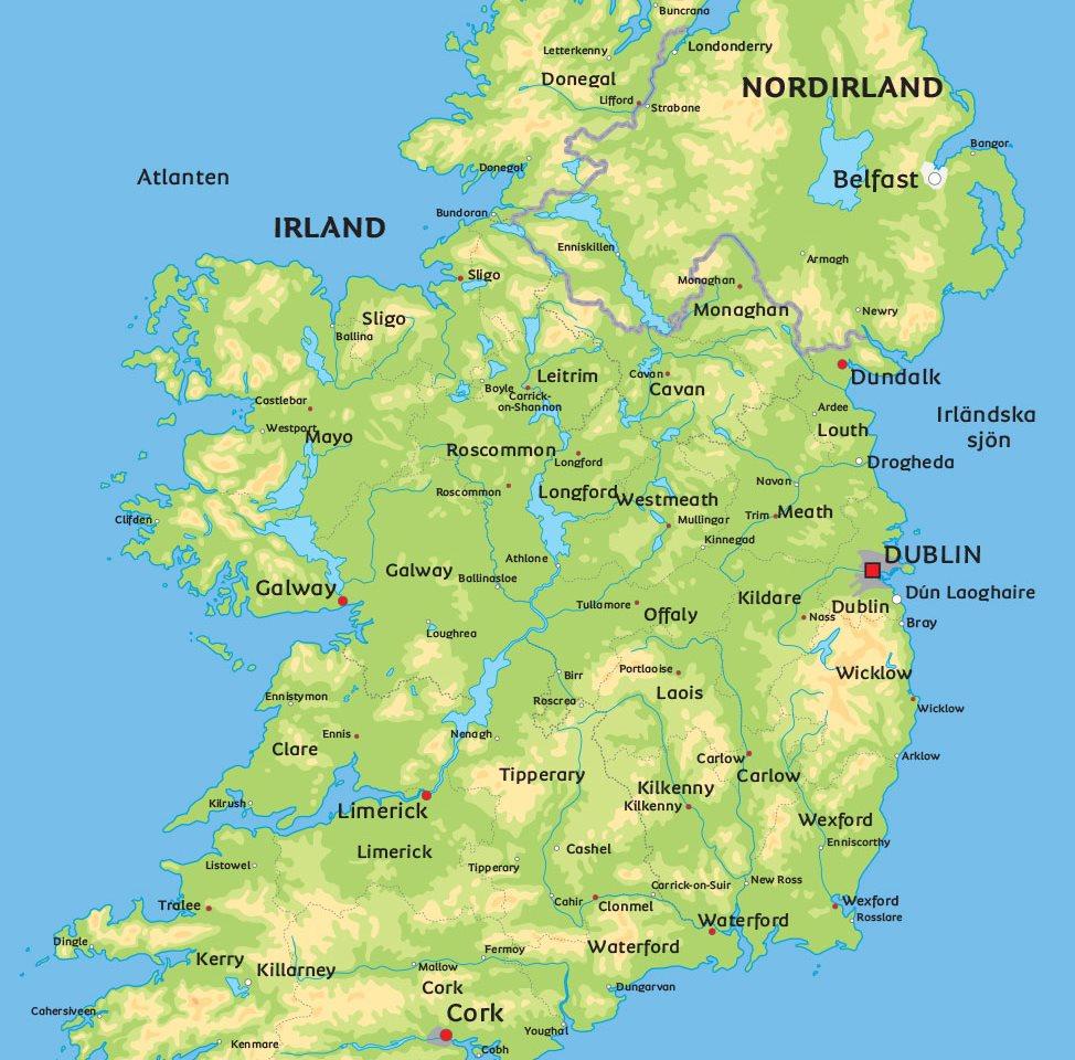 irland karta Irland karta: Se de största städerna i Irland t. ex. Dublin irland karta