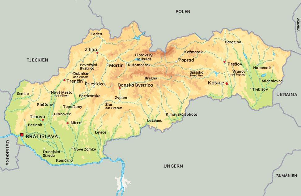 slovakien karta Karta Slovakien: Se de största städerna i Slovakien slovakien karta
