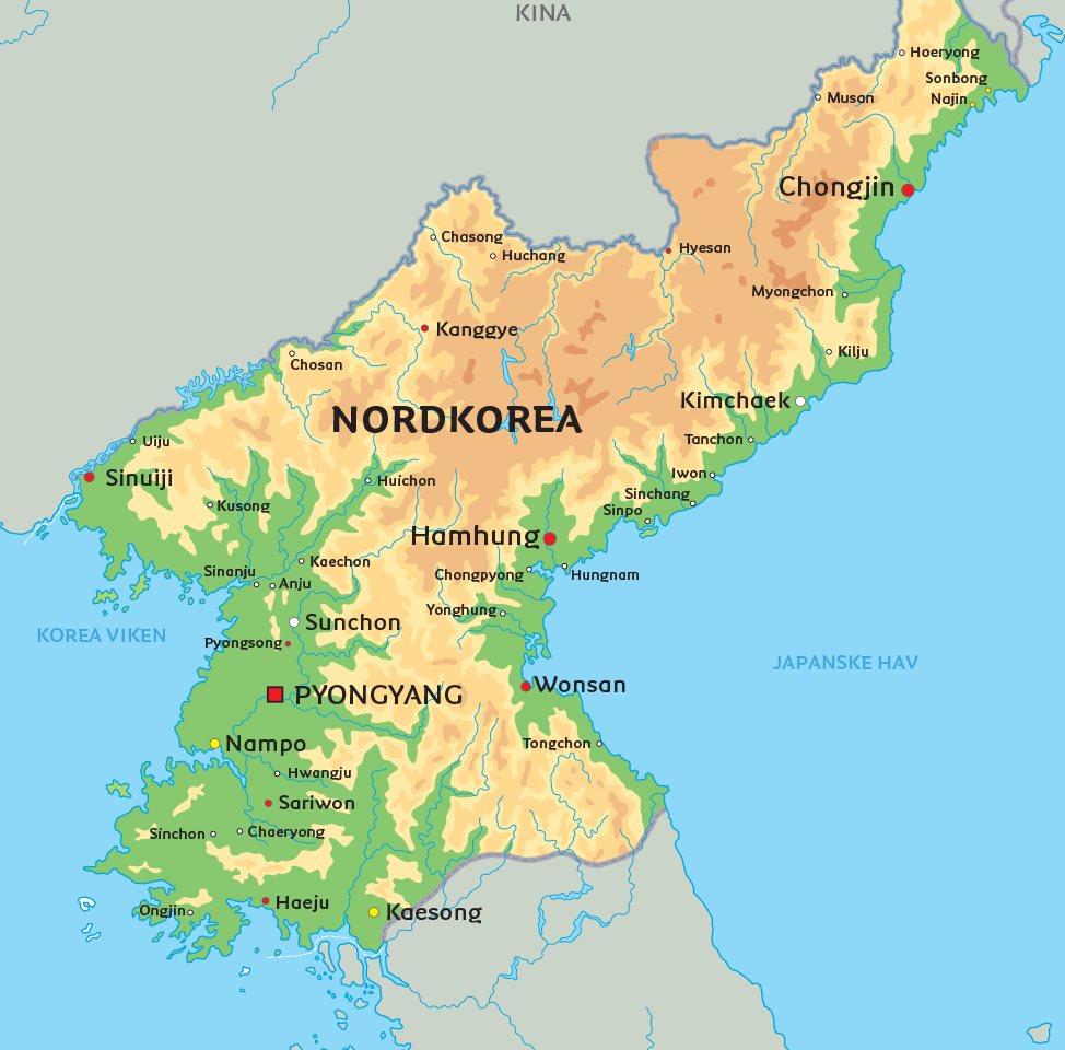 nordkorea karta Nordkorea karta: Se bland annat placeringen av huvudstaden Pyongyang nordkorea karta
