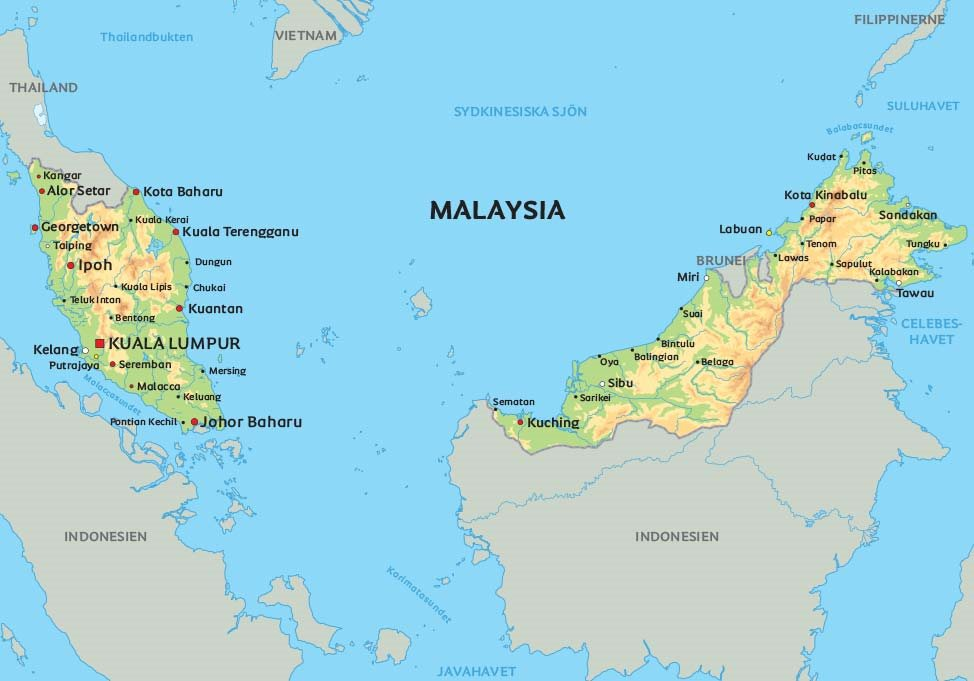 karta malaysia Karta Malaysia: Se de största städerna i Malaysia på karta – Kuala  karta malaysia