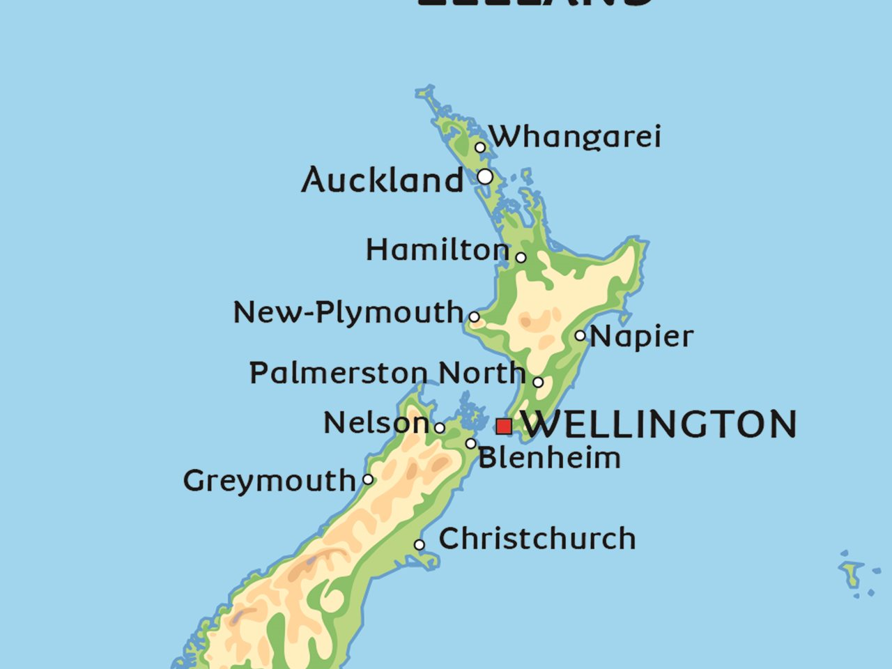 karta nya zeeland Karta över Nya Zeeland: se till exempel huvudstaden Wellington  karta nya zeeland