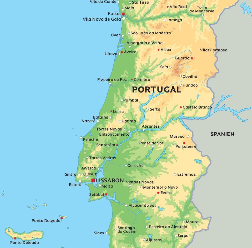 Karta Over Spaniens Vastkust.Karta Over Portugal Se De Storsta Staderna I Portugal T Ex
