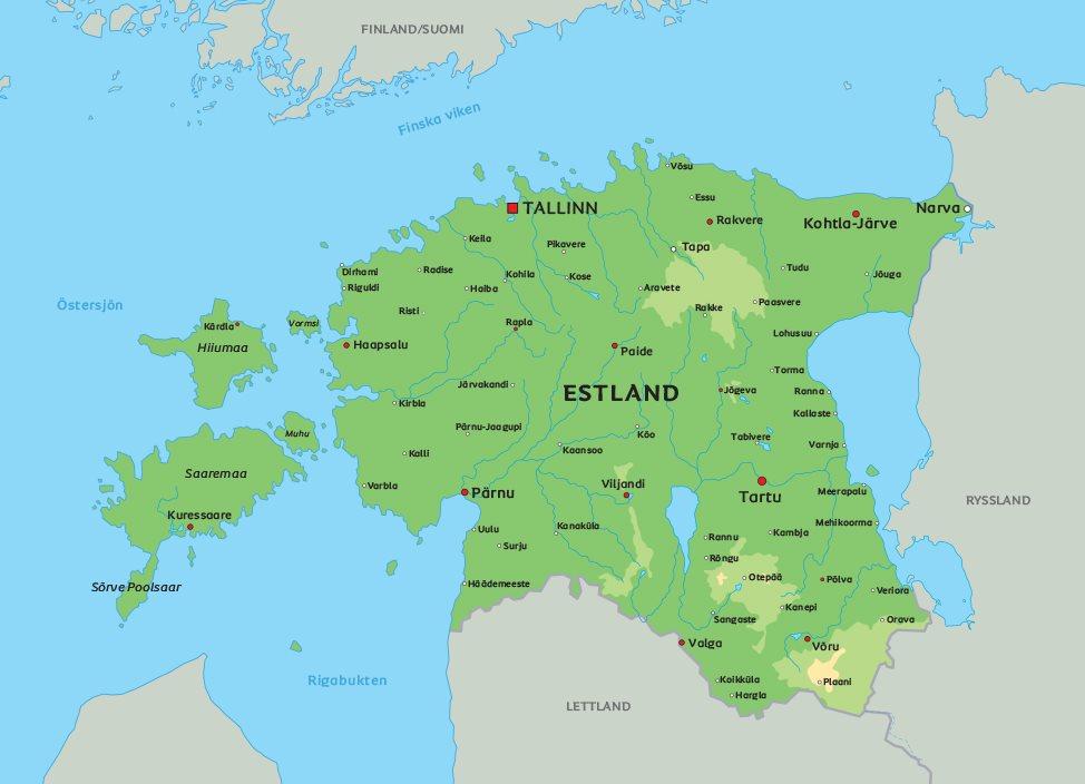 estland karta Karta Estland: Se t.ex. huvudstaden Tallinn estland karta