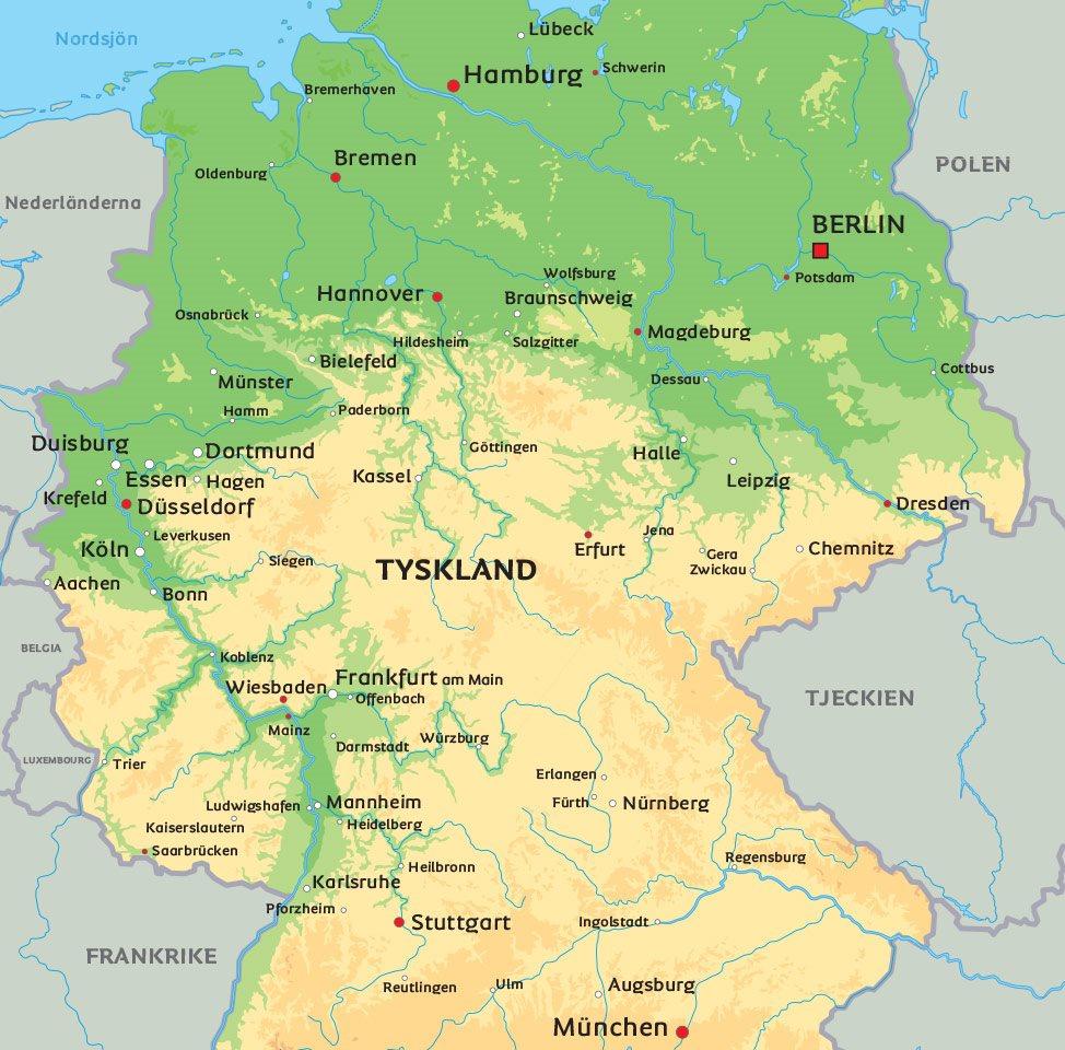 karta tyskland Karta Tyskland: Se bl.a. huvudstaden Berlin karta tyskland