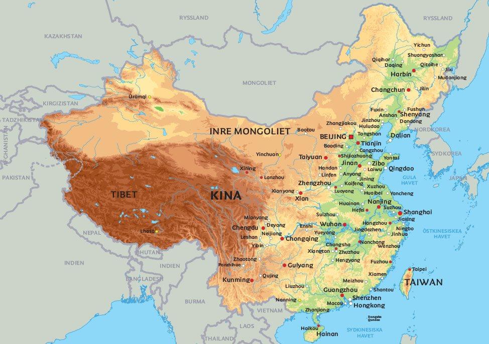 karta kina Karta Kina: se de största städerna i Kina på kartan   Beijing  karta kina