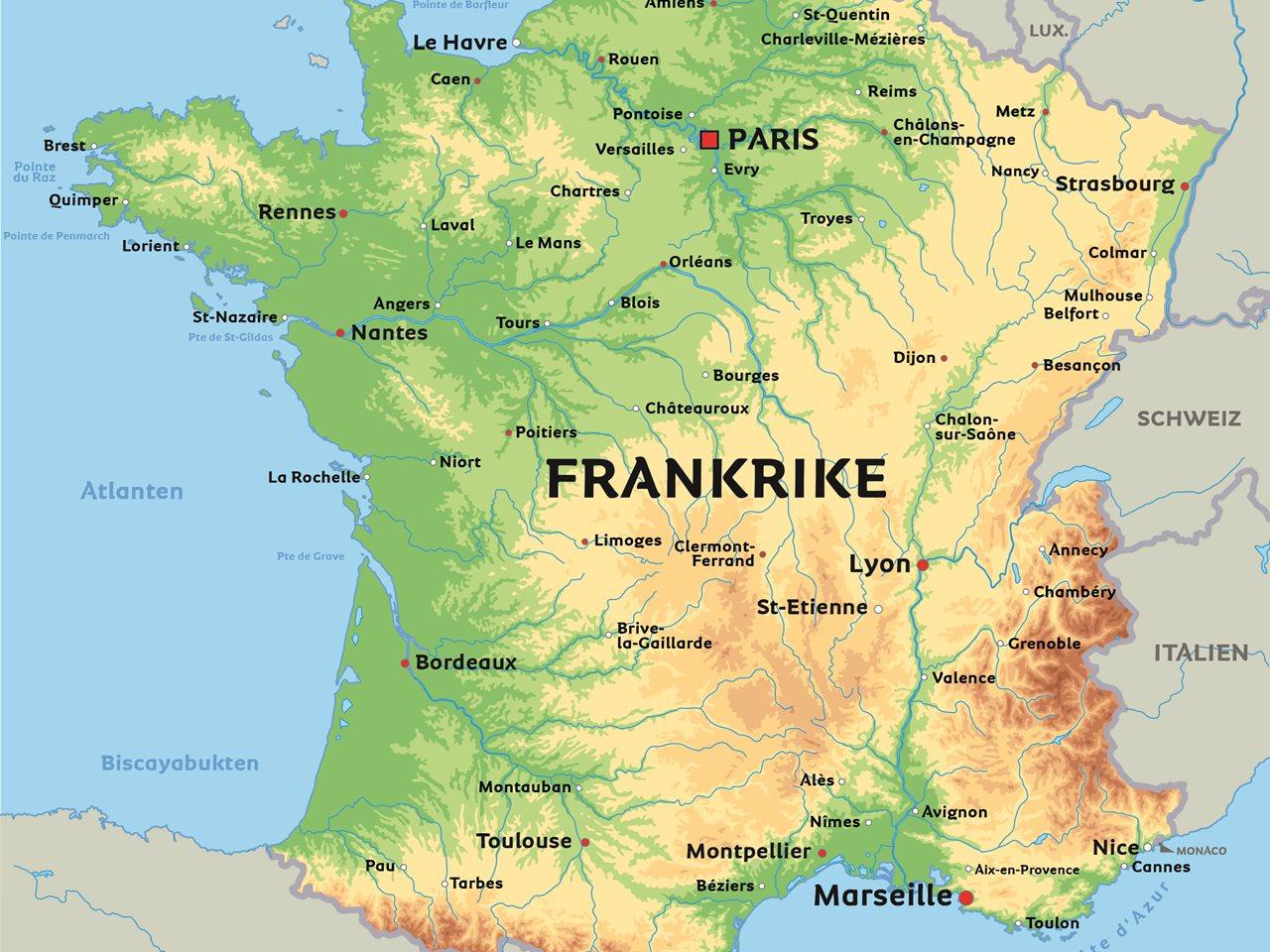 frankrike karta Karta Frankrike: se till exempel Paris, Nice och Strasbourg frankrike karta