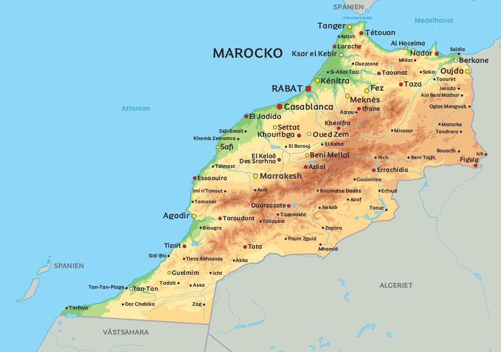 marocko karta Karta Marocko: Se t.ex. placeringen av Marrakech marocko karta