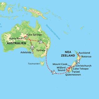 Australien Karta Lander.Australien Nya Zeeland