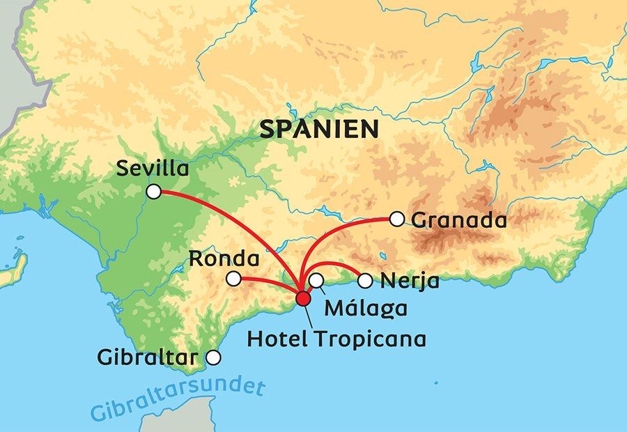 Karta Italien Spanien.Sagolika Andalusien Med Malaga Sevilla Och Granada