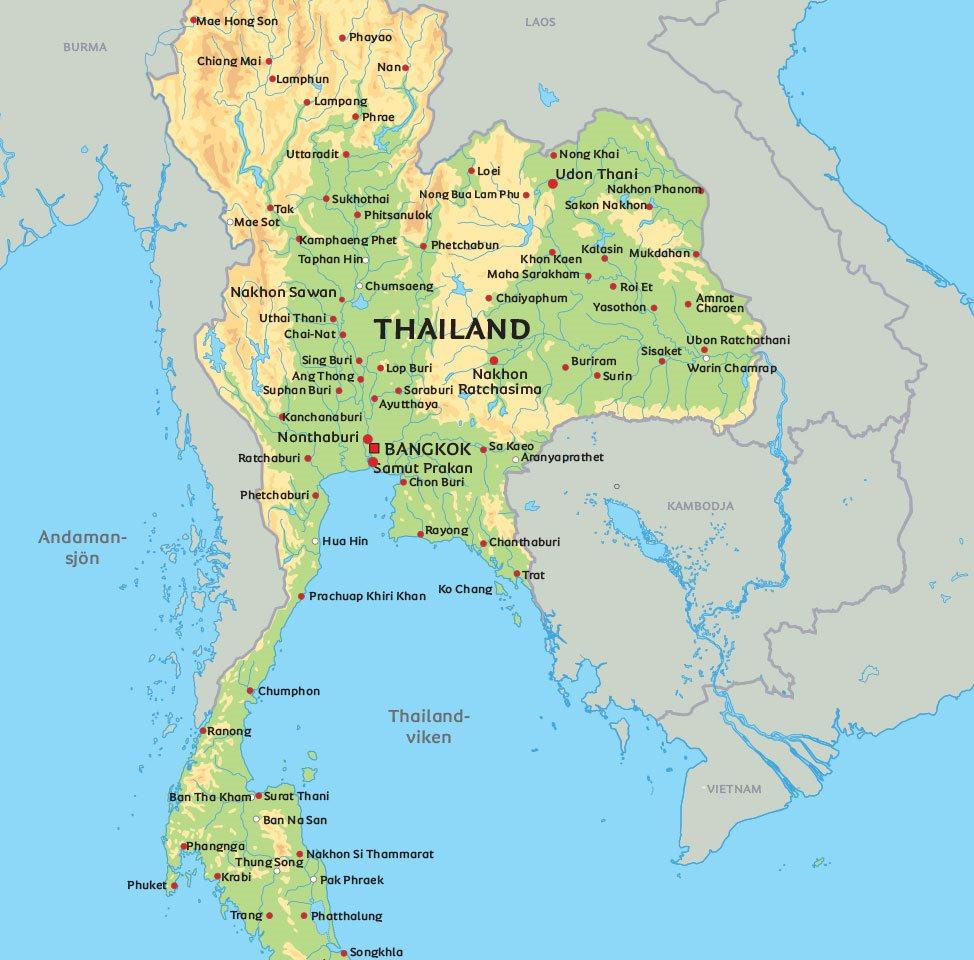 Karta Phuket.Karta Thailand Se De Storsta Staderna I Thailand Pa Kartan