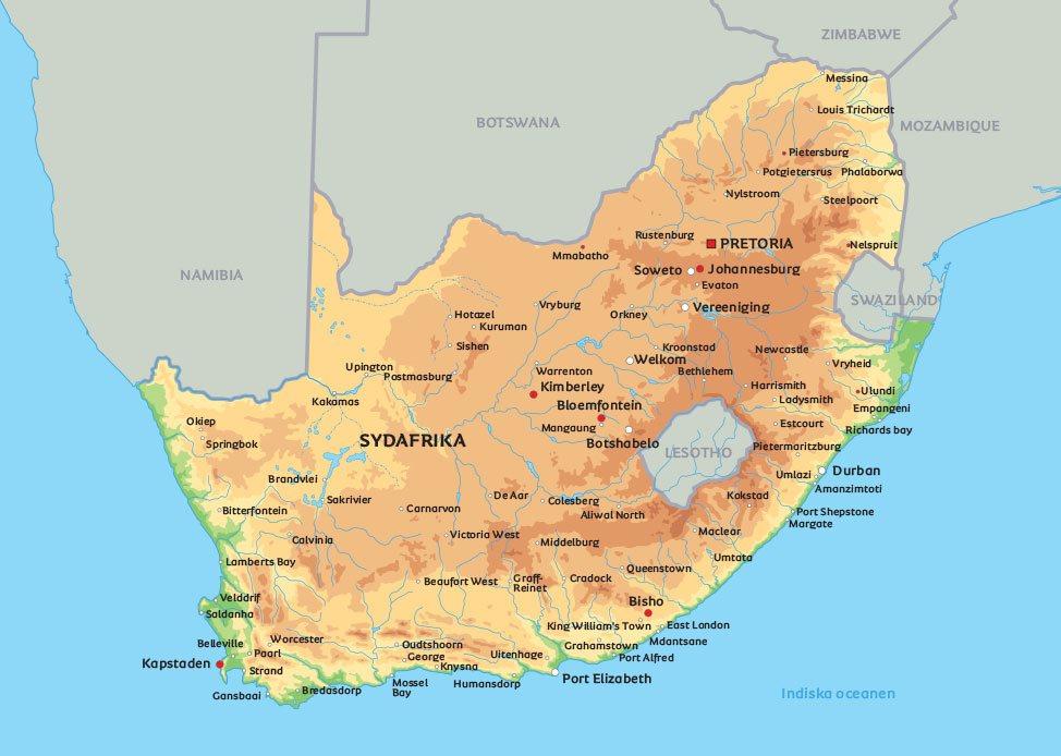 Karta Afrikas Ostkust.Sydafrika Karta Se De Storsta Staderna I Sydafrika Exempelvis