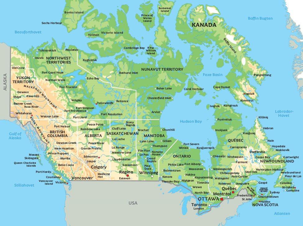 Karta Afrikas Ostkust.Kanada Karta Se Bland Annat Placeringen Av Huvudstaden Ottawa