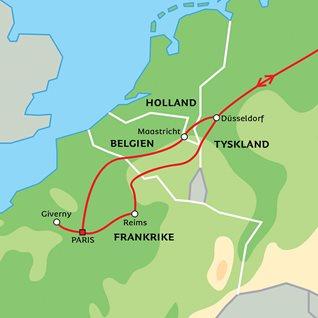 Karta Champagnedistriktet Frankrike.Paris Karlekens Stad