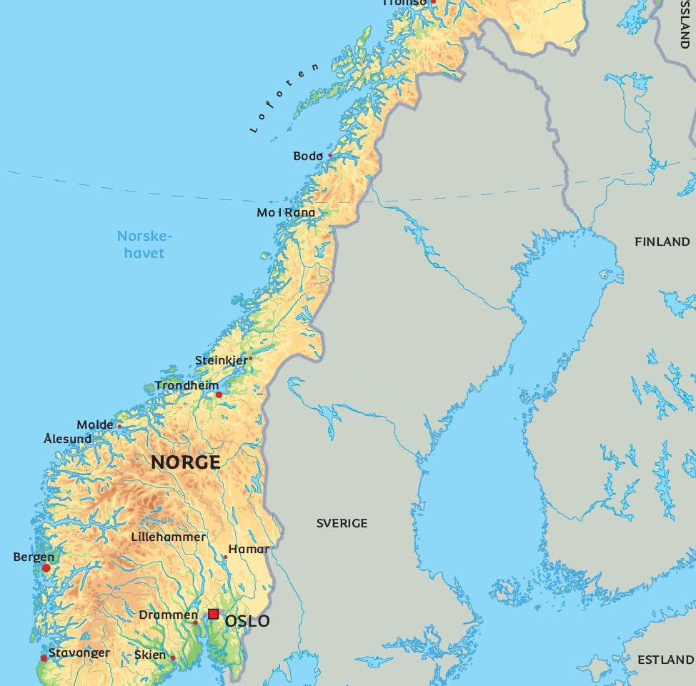 karta över norge Karta Norge: Se bland annat placeringen av huvudstaden Oslo. karta över norge