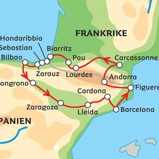 Karta Over Sevardheter I Barcelona.Barcelona Baskien Och Bernadotte