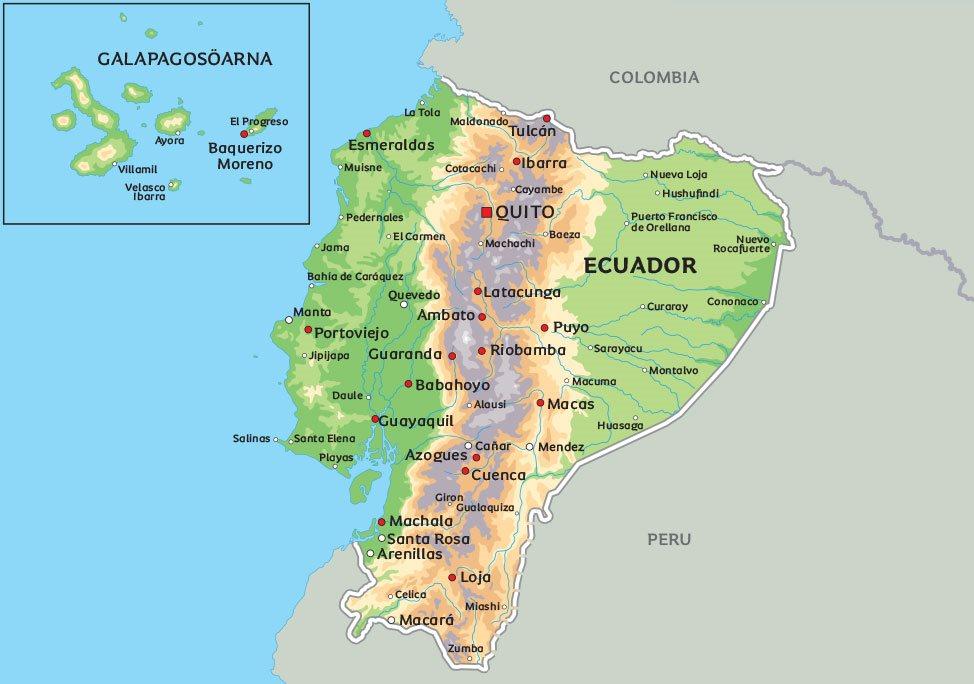 galapagosöarna karta Karta Ecuador: Se till exempel huvudstaden Quito galapagosöarna karta