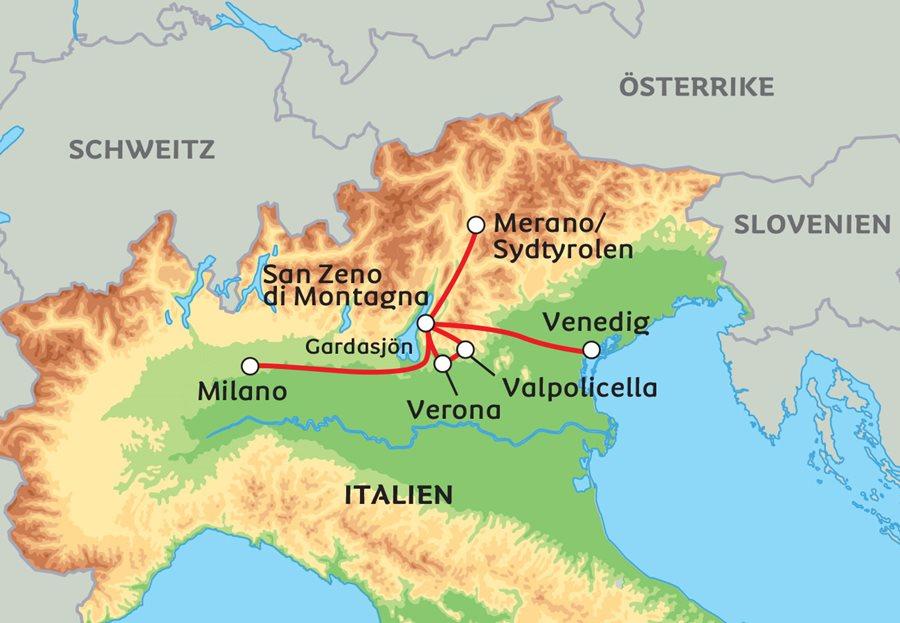Karta Nord Italien.Praktfulla Norditalien