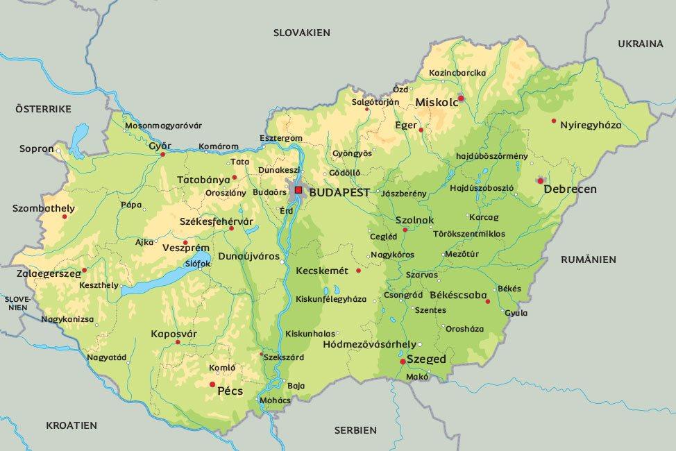 ungern karta Karta Ungern: se bl.a. huvudstaden Budapest ungern karta