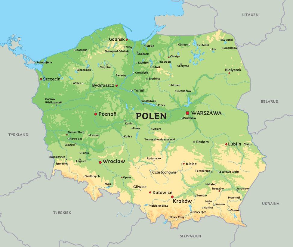 Karta Europa Pa Svenska.Karta Polen Se Till Exempel Huvudstaden Warszawa