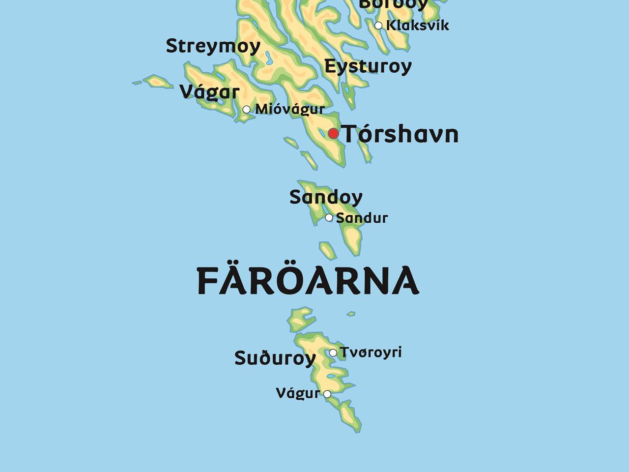 färöarna karta Karta Färöarna: Se till exempel huvudstaden Tórshavn färöarna karta